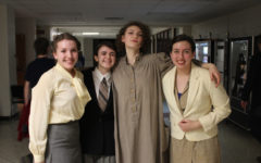 Emma Ostlund, Olivia McDermott-Sipe, Gaia Hendrix-Petry, and Melody Cobine pose for a photo after a show.