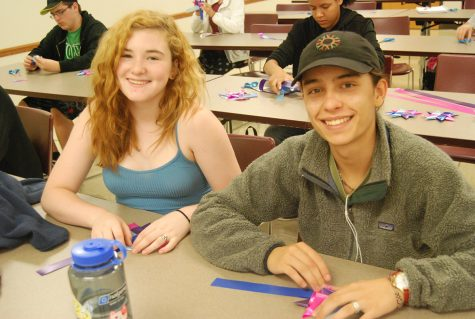 Sophomores Zoe Denomee and Aiden Sand pause their work to take a picture.