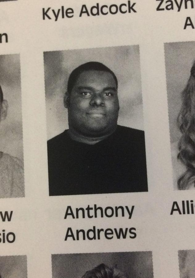 Andrews' freshman yearbook picture from the 2013-2014 school year