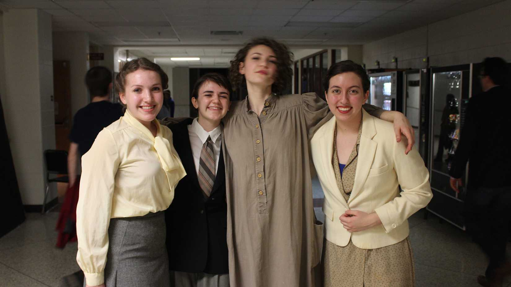 Emma Ostlund, Olivia McDermott-Sipe, Gaia Hendrix-Petry, and Melody Cobine pose for a photo after a show. Photo by Jake Taylor